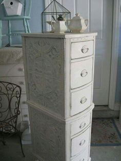 Tall slim dresser from desk drawer sides