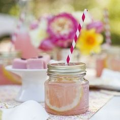Mason jar sippers Adorable for kids parties and casual chic for grown-up celebrations, our glass drinking jars and straws will set your table setting apart! Includes 12 8 oz. jars with daisy perforated metal lids and 12 sturdy multi-color paper straws. Party. Rinse. Repeat!