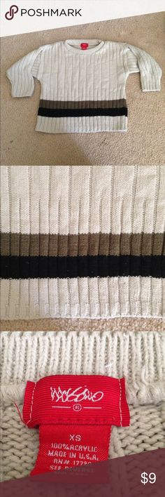 Cream colored sweater size XS Very good used condition sweater with black & brown stripe.  Pretty sure that XS is 4/5 Shirts & Tops Sweaters