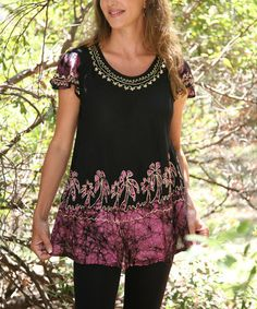 Love this Black & Fuchsia Embroidered Angel-Sleeve Top by Ananda's Collection on #zulily! #zulilyfinds