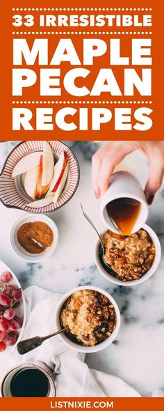 35 irresistible maple pecan recipes - Beyond maple pecan latte: Maple pecan recipes that combine these two great flavors in breakfast bowls, muffins, waffles, scones, salads, chicken, seafood, pork, sweet potatoes, Brussels sprouts, pies, cupcakes, donuts