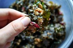 "Grain-free granola aka ""greenola"" with kale... a unique and sweet take on kale chips"