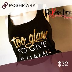 """2GLAM • cute cut up crop tank top •••☠️ BUNDLE & SAVE ☠️☠️ WILL CONSIDER *ALL* REASONABLE OFFERS!  2GLAM • cute black tee cut into a crop tank top. """"TOO GLAM TO GIVE A DAMN"""" in gold and glitter/sparkles. Cute and comfortable!  Size medium  #customtee #croptop #tshirtcutting #embellishment #tooglamtogiveadamn #revamped #deconstructed #upcycled #reworked #redone #oneofakind #madetoorder #comfortable #sexy #gym #workout #gymlife #graphictee #sparkle #glitter Tops Crop Tops"""