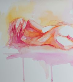 Fine Art Print of a  Watercolor Figure Nude Reclining Female in Citrus Colors by Krystyna81 on Etsy https://www.etsy.com/listing/104147433/fine-art-print-of-a-watercolor-figure