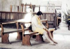 """In 1975, Diane and Peter Berthelot along with their 12-year-old son visited the Worstead Church in north Norfolk, U.K. Peter took a photo of his wife sitting and praying on one of the church benches, and when they reviewed the developed photos some months later, a friend of Mrs. Berthelot asked, """"Who's that sitting behind you, Di?""""    The figure in the photo Mrs. Berthelot appears to be wearing light-colored, old-fashioned clothes and a bonnet.    The Berthelots returned to Worstead Church…"""
