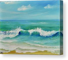 Gentle Breeze Canvas Print by Teresa Wegrzyn. All canvas prints are professionally printed, assembled, and shipped within 3 - 4 business days and delivered ready-to-hang on your wall. Choose from multiple print sizes, border colors, and canvas materials. Seascape Paintings, Landscape Paintings, Watercolor Paintings, Beach Paintings, Beach Watercolor, Acrylic Painting Canvas, Canvas Art, Big Canvas, Wall Canvas
