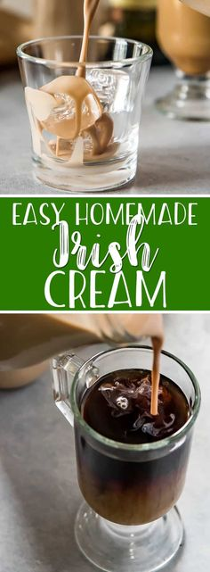 This quick and easy homemade Irish cream recipe is the one you've been looking for! You'll never have to buy a bottle at the liquor store again when all it takes is 5 minutes and 6 ingredients to make the perfect copycat version of your favorite silky-smooth Irish cream liqueur! Easy Drink Recipes, Tea Recipes, Yummy Drinks, Smoothie Recipes, Yummy Food, Smoothies, Cocktail Recipes, Homemade Irish Cream, Smoothie