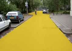 yellow street, schiedam - florentijn hofman, 2003 [from 'think big / florentijn hofman talks to yatzer', interview article + series of public art installation images]