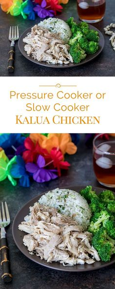 This tender juicy Pressure Cooker Kalua Chicken made with chicken thighs is a great alternative to Kalua Pork. Have it on the table in 30 minutes. Pressure Cooking Today, Pressure Cooking Recipes, Slow Cooker Recipes, Beef Recipes, Chicken Recipes, Healthy Recipes, Ip Chicken, Frozen Chicken, Kalua Chicken Recipe
