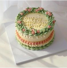 Pretty Birthday Cakes, Pretty Cakes, Beautiful Cakes, Amazing Cakes, Green Birthday Cakes, Korean Cake, Pastel Cakes, Bolo Cake, Think Food
