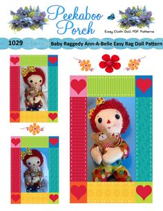 Didnt you ever wonder what Raggedy Ann looked like as a baby? This cute cuddly baby version of Raggedy Ann is sure to delight Raggedy Ann lovers of all ages! This unique pattern combines the doll with unremovable PJs so Baby Raggedy Ann never gets cold. She is cuddling her favorite teddy bear and is ready for you to read her a bedtime story.  This Easy Soft 15 inch Cloth Doll PDF Pattern includes doll with permanent PJs, teddybear and hair bow.  **This is a pattern ONLY and not a completed…