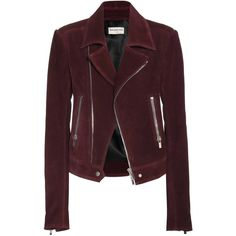 Balenciaga Suede Biker Jacket ($2,575) ❤ liked on Polyvore featuring outerwear, jackets, coats, coats & jackets, tops, red, red jacket, suede moto jacket, suede biker jacket and brown motorcycle jacket