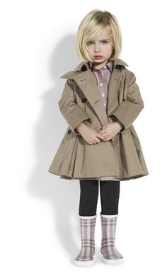 Adorable, Girls Trench Coat with Burberry Plaid Rain Boots