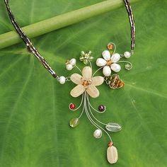 mmm...Handmade Pearl and Gemstone Floral Choker - Honey Lily | NOVICA