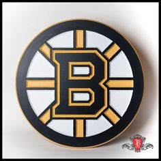 "Boston Bruins logo made from MDF using a CNC machine.  Measures 22"" in diameter and is 3.4"" thick"