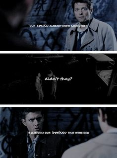 our souls already knew each other Dean Winchester, Supernatural Pictures, Supernatural Destiel, Misha Collins, Jensen Ackles, Bbc Musketeers, Two Brothers, Superwholock, Favorite Tv Shows