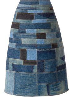 Junya Watanabe Comme Des Garçons Patchwork Denim Skirt