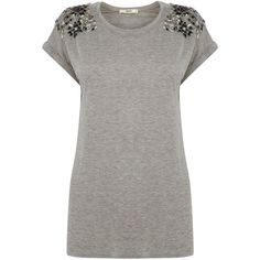 Oasis Embellished Shoulder Tee ($61) ❤ liked on Polyvore featuring tops, t-shirts, grey, women, decorating t shirts, gray top, basic tee, embellished tops y gray tee