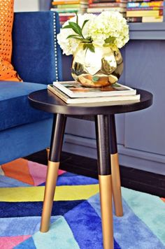 Stool turned coffee table: http://www.stylemepretty.com/living/2015/04/01/a-bright-and-cheery-home-office-transformation/ | Design: Nicole White - http://www.livelaughdecorate.com/