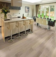 Seashell Ventura Hardwood Flooring in a kitchen by Hallmark Floors