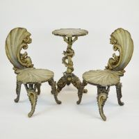 Pair of Side Chairs and Table, Venetian Mecca, Gilt Varnished #shell #antique #set