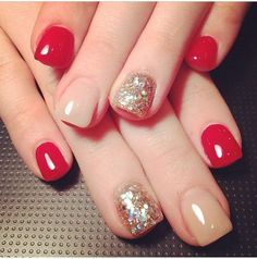 Image via Beautiful Wedding red nail art design Image via Flower Wedding red nail art Image via Image via I love this but every time I get just one nail a light color it look Fancy Nails, Red Nails, Love Nails, Pretty Nails, Beige Nails, Holiday Nails, Christmas Nails, Cute Nail Art, Nagel Gel