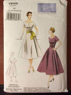1950s-Vogue-Vintage-Model-Dress-Sewing-Pattern-V9105-sizes-E5-14-16-18-20-22
