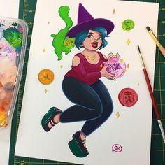 Feeling witchy   #witch #orbs #cat #gouache #painting #myart #witchcraft #thirdeye #witchcat #modernwitch #character #characterdesign #curvy #crystal #paint #supernatural #fashion #style #plussize #pinup #tealhair #magic #spellcaster #spectre #sparkle