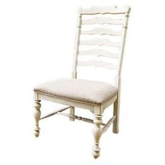 """Ladder-back arm chair with turned front legs and an upholstered seat.Product: ChairConstruction Material: Wood and fabricColor: LinenFeatures:Part of the Paula Deen collectionDistressed finish accentuates country designShaped ladder backTurned side and center support archesDimensions: 44"""" H x 23"""" W x 20"""" D"""