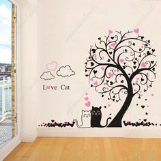 Tree And Cat Wall Decals Animal Wall Mural Flower Tree Wall - Custom vinyl wall decals cats