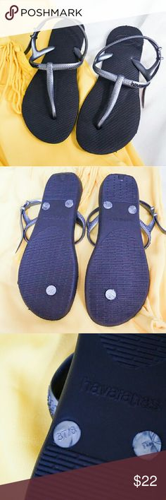 NWOT Havaianas Slippers ?New without tags. Never worn. No damage. ?Black soles, silver-gray straps. ?Same day shipping. ?20% discount when you buy 3 listings. ?Open to REASONABLE offers. Havaianas Shoes Slippers