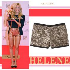 Das Outfit von Helene Fischer beim Bambi: Glitzer Hot Pants und schwarzer Blazer - einfach Bombe! Hier bei Cloulux gibt's den Look günstig zum nachkaufen!