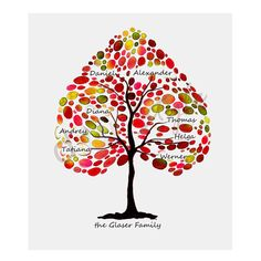 Monogrammed Family Tree Art Custom Children Decor by didiStyle