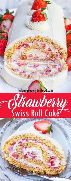 Strawberry Swiss Roll Cake Recipe (video) - Tatyanas Everyday Food Strawberry Swiss Roll Cake Recipe, Strawberry Cake Recipes, Sponge Cake Recipes, Sponge Roll Cake Recipe, Mascarpone Recipes, Tatyana's Everyday Food, Berry Cheesecake, Classic Cake, Cookies