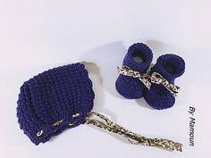 Ensemble béguin et chaussons bébé 0-3 mois tricotés main