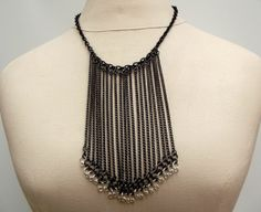 Statement Necklace Long Chain Fringe Edgy by SherryKayDesigns