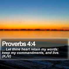 Proverbs 4:4   ... Let thine heart retain my words: keep my commandments, and live. (KJV)   #VOTD #Church #Salvation #ChristianLockScreens #DailyBibleVerse   http://www.bible-sms.com/