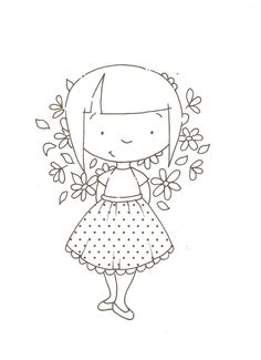 girl with flowers....(sweet design to embroider!)....