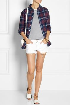Band of Outsiders Plaid cotton-flannel boyfriend shirt ,The Row top, Ashley Pittman bracelets, Maiyet ring and shoes, rag & bone shorts, Sophie Hulme bag