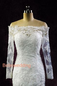 Off shoulder long sleeves sheath chapel train lace by Bebowedding, $327.00