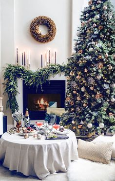 Cozy Christmas by the fire on Apartment 34 | 10 Best Christmas Trees