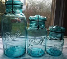 Vintage Blue Ball Jar Pints by...  #colorofthemonth #pagoda_blue