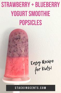 Homemade with fresh fruit these layered popsicles are SOOO delicious! My kids love this easy strawberry blueberry yogurt popsicle recipe. Care Skin Condition and Treatment Oil Makeup Blueberry Popsicles, Strawberry Blueberry Smoothie, Smoothie Popsicles, Homemade Popsicles, Yogurt Smoothies, Smoothie Recipes, Snack Recipes, Dessert Recipes, Easy Recipes