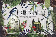 Pagan Forest Watercolor Kit by Fluffy Unicorn on @creativemarket