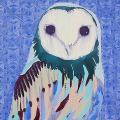 Owl Painting With Brights Colors and Bold Strokes by Anya Brock #bird #owl #painting #bold #colors #art #illustration