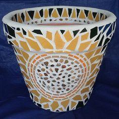 Mosaic Flower Pot/Planter  Cheery  Organic by MosaicsByJoan, $90.00
