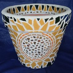 Mosaic Flower Pot/Planter  Cheery  Organic by MosaicsByJoan, $90.00