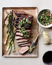 Tri-Tip Steak with Grilled Scallion, Ginger and Cilantro Relish with Butcher Box grass fed beef Steak Recipes, Grilling Recipes, Wine Recipes, Cooking Recipes, Cookbook Recipes, Relish Recipes, Roasted Onions, Tri Tip, Cookout Food