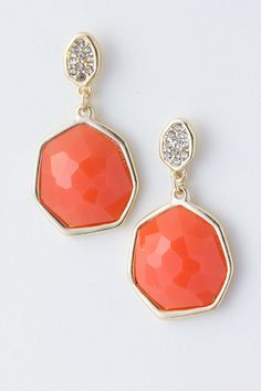 Coral Crystal Aggie Earrings on Emma Stine Limited VIP