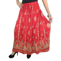 Mogulinterior Womens Sequin Skirt Red Hippie Gypsy Indi Designer Long Beaded Skirts